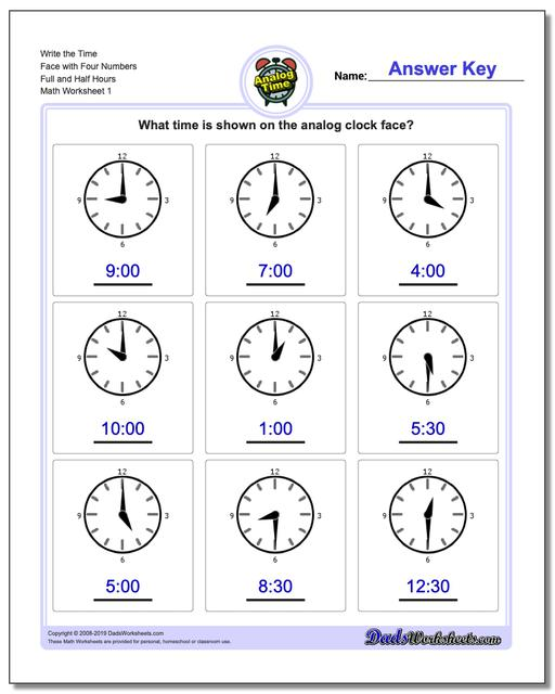 Telling Analog Time Write the Face with Four Numbers Full and Half Hours Worksheets