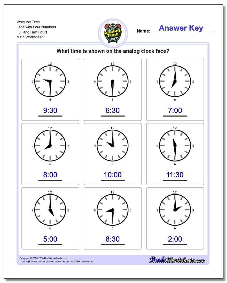 Telling Analog Time Write the Face with Four Numbers Full and Half Hours Worksheet