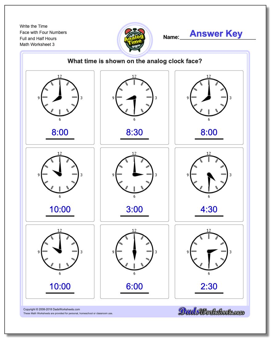 Write the Time Face with Four Numbers Full and Half Hours Worksheet