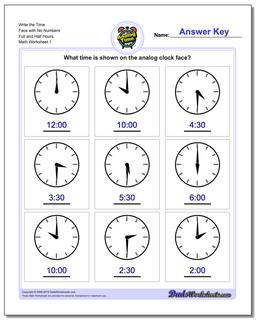 Telling Analog Time Write the Face with No Numbers Full and Half Hours Worksheet
