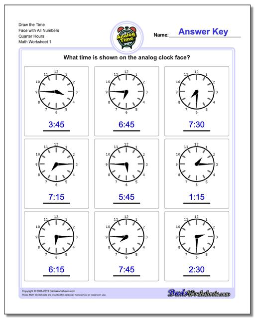 telling analog time  quarter hours telling analog time worksheets