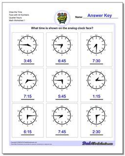 Quarter Hours Telling Analog Time Worksheet