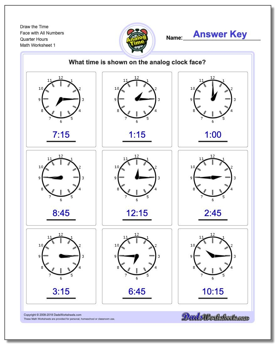 Telling Analog Time – Time to the Hour Worksheets