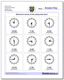 Draw the Time Face with All Numbers Quarter Hours Worksheet #Telling #Analog #Time #Worksheet