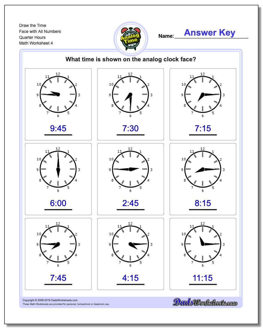 Draw the Time Face with All Numbers Quarter Hours Worksheet