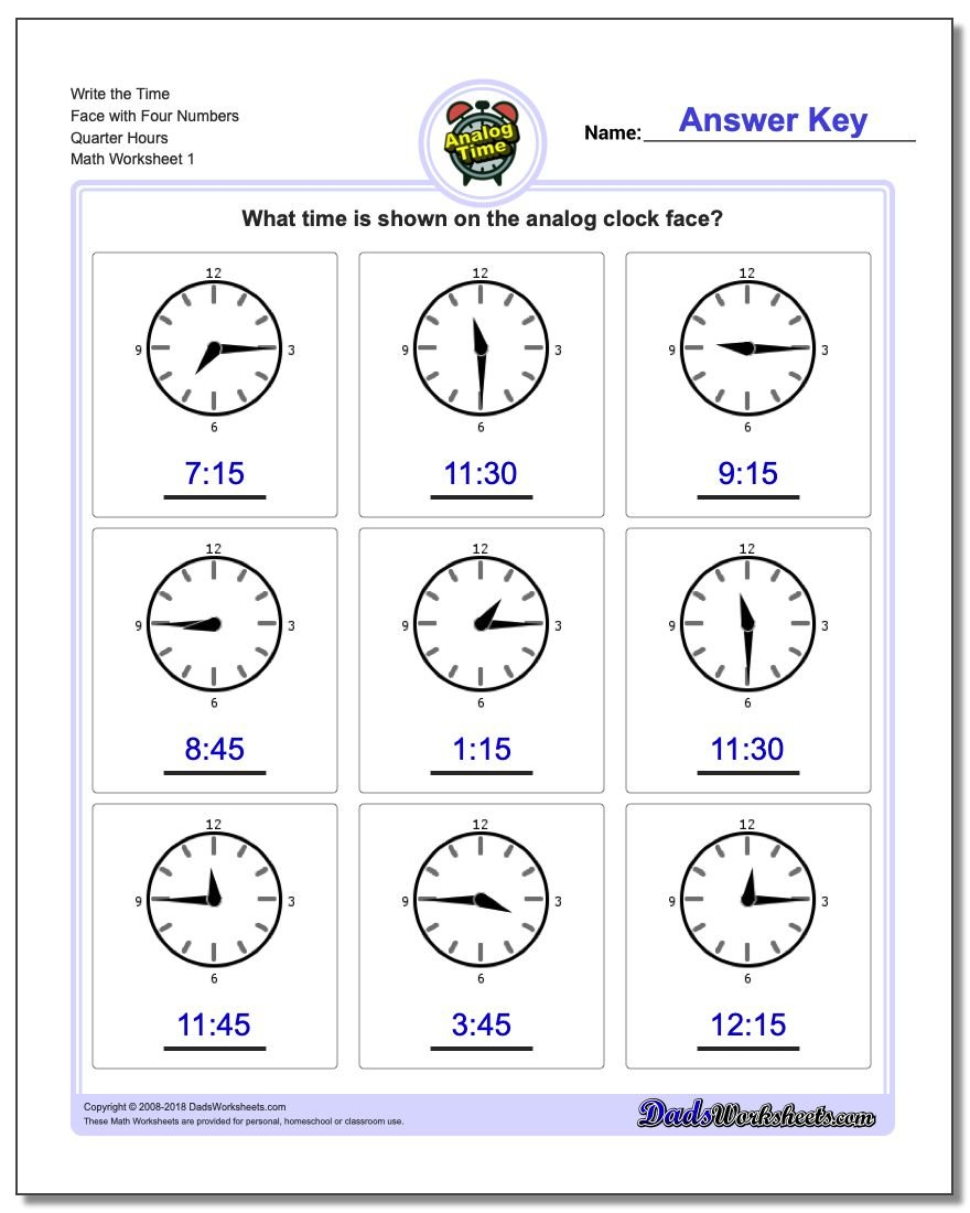 Telling Analog Time Write the Face with Four Numbers Quarter Hours Worksheets