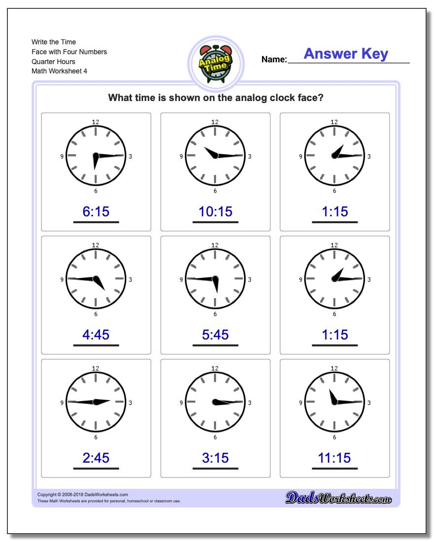 Write the Time Face with Four Numbers Quarter Hours Worksheet