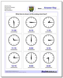 Telling Analog Time Write the Face with No Numbers Quarter Hours Worksheet