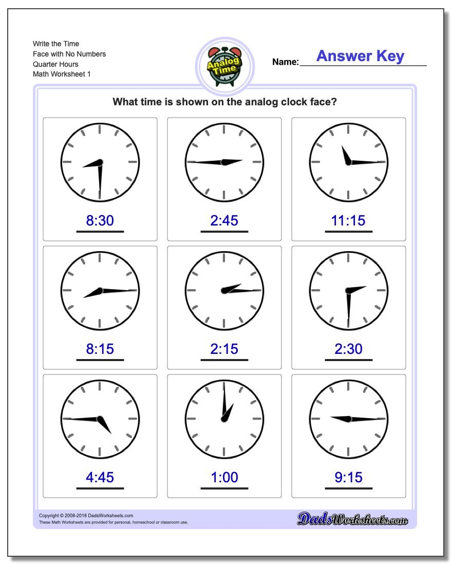Telling Analog Time Write the Face with No Numbers Quarter Hours Worksheets