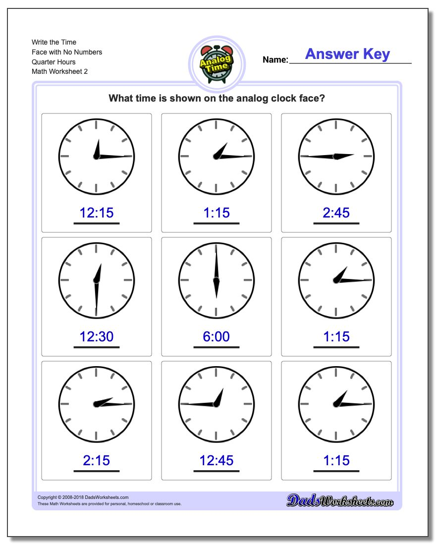 Write the Time Face with No Numbers Quarter Hours www.dadsworksheets.com/worksheets/telling-analog-time.html Worksheet