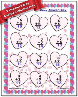 Valentine's Day Addition Worksheet #Valentines #Day #Worksheet