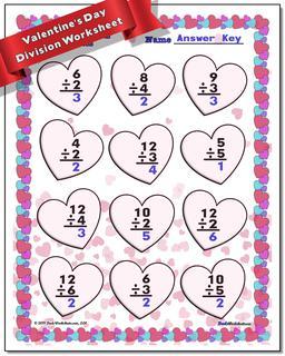 Valentine's Day Division Worksheet