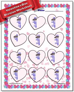 Valentine's Day Division Worksheet #Valentines #Day #Worksheet