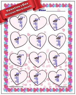 Valentine's Day Division Worksheet #Valentines #Day #Worksheet