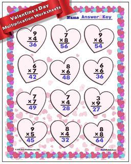 Valentine's Day Multiplication Worksheet #Valentines #Day #Worksheet