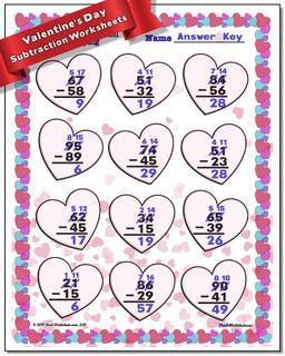 Valentine's Day Subtraction Worksheet #Valentines #Day #Worksheet
