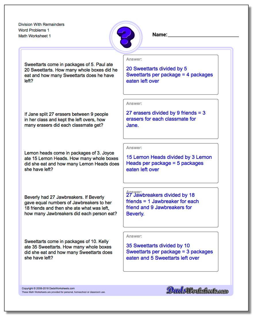Word Problems Worksheet Division Worksheet With Remainders 1