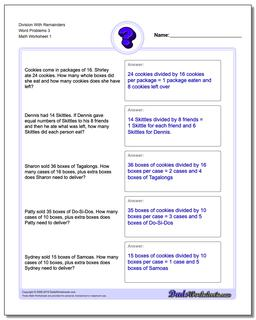 Word Problems Worksheet Division Worksheet With Remainders 3