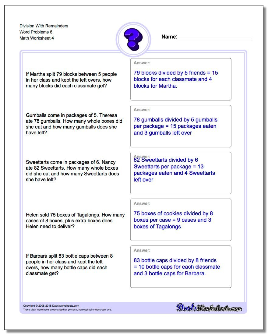 Division Worksheet With Remainders Word Problems Worksheet 6