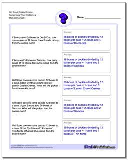 Girl Scout Cookie Division Worksheet Remainders Word Problems Worksheet 2